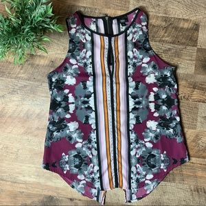 Mossimo  Sleeveless Top Floral and stripe Size S